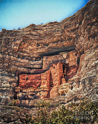 American Indian Cliff Dwelling  ... Art Print by Chuck Caramella
