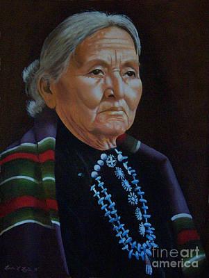 Navaho Painting - American Indian Woman by Linda Layton