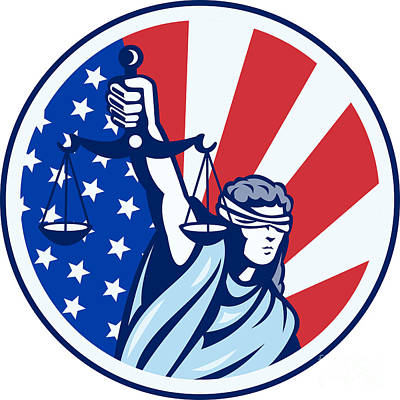 American Lady Holding Scales Of Justice Flag Retro Art Print by Aloysius Patrimonio