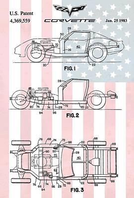 General Motors Digital Art - American Made Corvette Patent by Dan Sproul