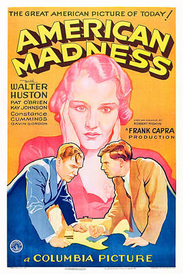 Films By Frank Capra Photograph - American Madness, Background, Kay by Everett