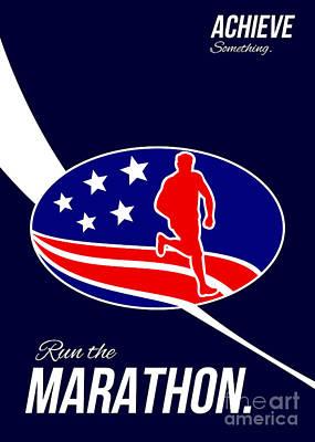 Jogging Digital Art - American Marathon Achieve Something Poster  by Aloysius Patrimonio