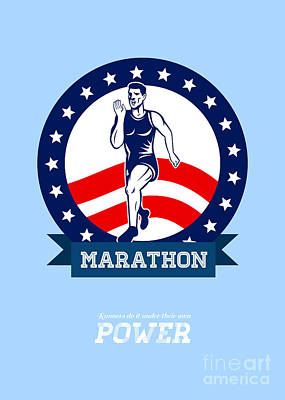 Jog Digital Art - American Marathon Runner Power Poster by Aloysius Patrimonio
