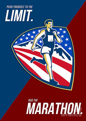 Jogging Digital Art - American Marathon Runner Push Limits Retro Poster by Aloysius Patrimonio