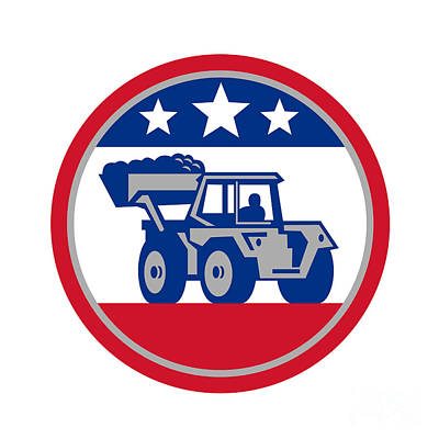 Landmarks Royalty Free Images - American Mechanical Digger Excavator Retro Royalty-Free Image by Aloysius Patrimonio