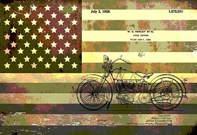American Flag Mixed Media - American Motorcycle Patent by Dan Sproul