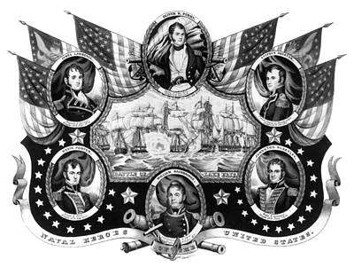 Carousel Collection Painting - American Naval Heroes by Granger
