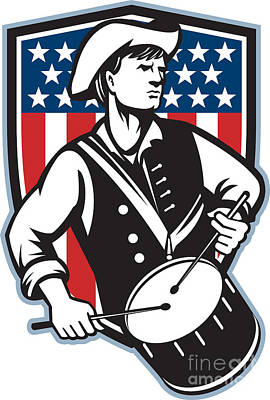 American Patriot Drummer With Flag Art Print by Aloysius Patrimonio