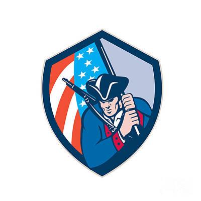 American Patriot Holding Brandish Flag Shield Retro Print by Aloysius Patrimonio