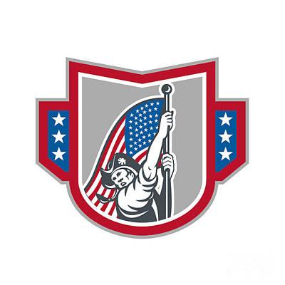 American Patriot Holding Up Stars Stripes Flag  Print by Aloysius Patrimonio