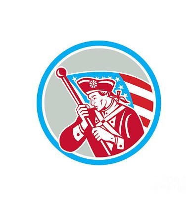 Waving Flag Digital Art - American Patriot Soldier Waving Flag Circle by Aloysius Patrimonio