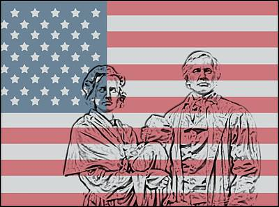 Man And Woman Mixed Media - American Patriots by Dan Sproul