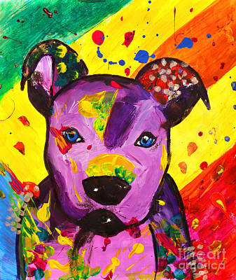 Julia Child Painting - American Pitbull Terrier Dog Pop Art by Julia Fine Art And Photography