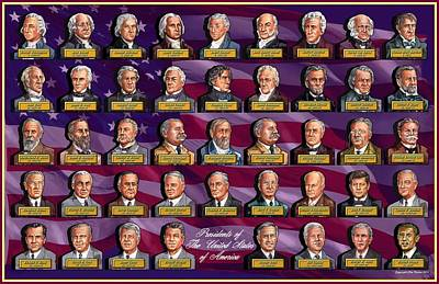 Obama Mixed Media - American Presidents by Clive Norton