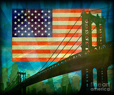 Usa Flags Mixed Media - American Pride by Bedros Awak