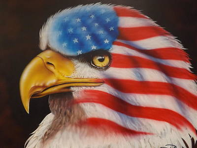 Blue And Red Painting - American Pride by Darren Robinson