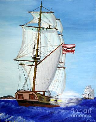 Painting - American Privateer Phoenix War Of 1812 by Bill Hubbard