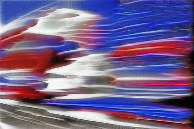 Red White And Blue Mixed Media - American Rail - Fractal by Steve Ohlsen