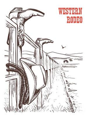 Landmark Digital Art - American Ranch Landscape With Cowboy by Tancha