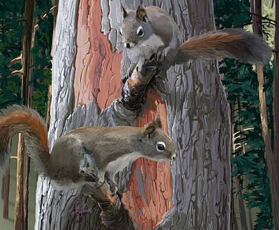 American Red Squirrels Art Print
