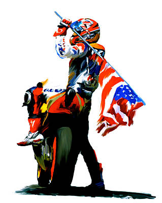 Collectible Art Painting - American Revolution Four Nicky Hayden by Iconic Images Art Gallery David Pucciarelli