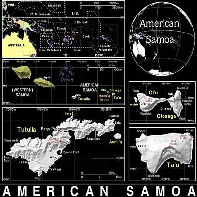 American Samoa Exotic Map Art Print