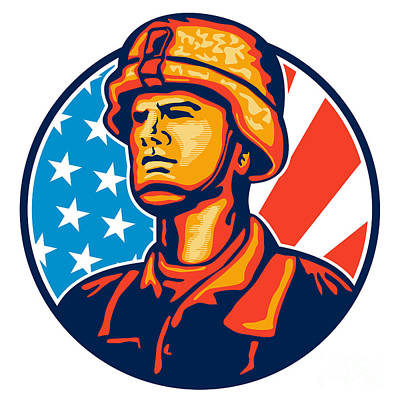 American Serviceman Soldier Flag Retro Print by Aloysius Patrimonio