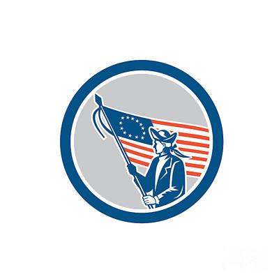 Waving Flag Digital Art - American Serviceman Soldier Waving Flag Circle Retro by Aloysius Patrimonio