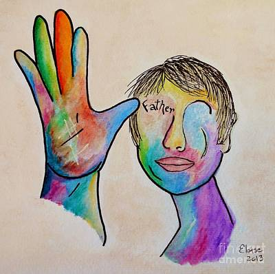 Landmarks Painting Royalty Free Images - American Sign Language  Father Royalty-Free Image by Eloise Schneider Mote