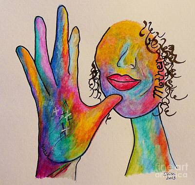 Funky Painting - American Sign Language . . .  Mother by Eloise Schneider