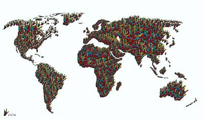 American Sign Language ... I Love You World Map  Art Print by Eloise Schneider