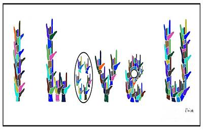 Bright Colours Painting - American Sign Language I Love You On White by Eloise Schneider