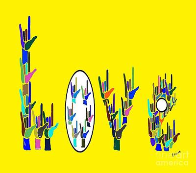 Landmarks Painting Royalty Free Images - American Sign Language LOVE HANDS Royalty-Free Image by Eloise Schneider Mote