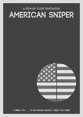 Armed Forces Mixed Media - American Sniper Minimalist Movie Poster by Celestial Images