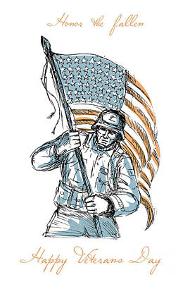 Animal Watercolors Juan Bosco - American Soldier Happy Veterans Day Greeting Card by Aloysius Patrimonio