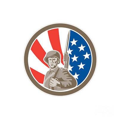 Bayonet Digital Art - American Soldier Serviceman Bayonet Circle Retro by Aloysius Patrimonio