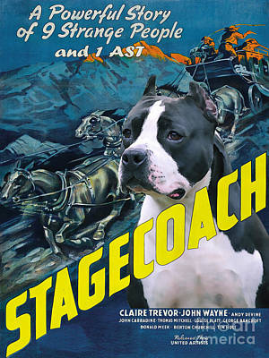 Painting - American Staffordshire Terrier Art Canvas Print - Stagecoach Movie Poster by Sandra Sij