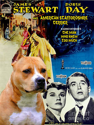 Painting - American Staffordshire Terrier Art Canvas Print - The Man Who Knew Too Much  Movie Poster by Sandra Sij