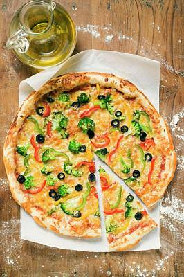 American-style Vegetable Pizza, A Slice Cut, Olive Oil Art Print