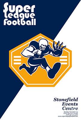 Stiff Digital Art - American Super League Football Poster Retro by Aloysius Patrimonio