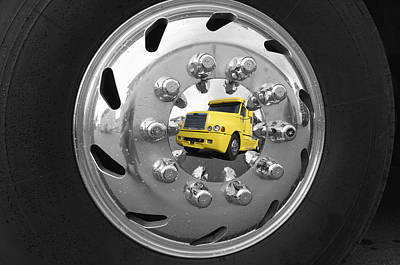 Hubcap Wall Art - Photograph - American Super Truck Mirrored In A Shiny Hubcap by Christian Lagereek