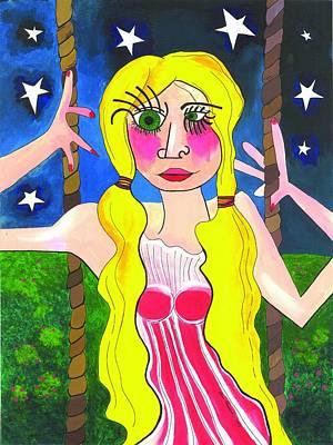 Girl On Swing Painting - American Swinger by Anna Kaszupski