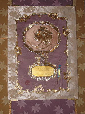 Tapestry - Textile - American Tanka Peony On Tantric Om by Dan A  Barker