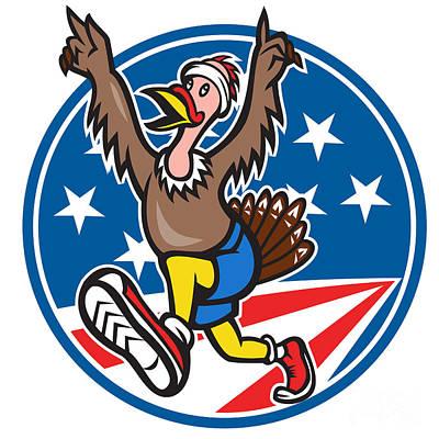 Poultry Digital Art - American Turkey Run Runner Cartoon by Aloysius Patrimonio