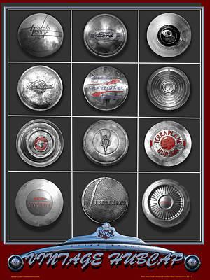 American Vintage Automobile Hubcaps Art Print by Larry Butterworth