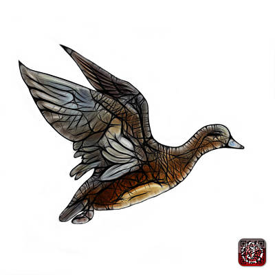 Mixed Media - American Wigeon - 7675 F - Wb by James Ahn