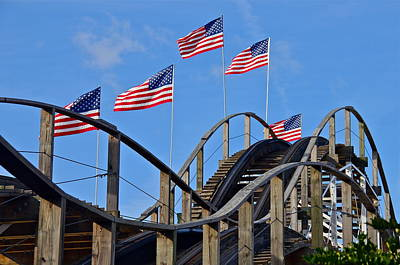 Photograph - American Wooden Roller Coaster by Denise Mazzocco