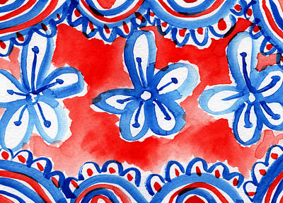 White And Blue Mixed Media - Americana Celebration 2 by Linda Woods
