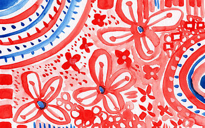Red White And Blue Mixed Media - Americana Celebration- Painting by Linda Woods