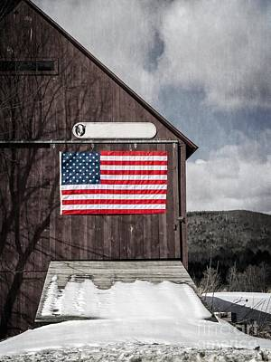 Values Photograph - Americana Patriotic Barn by Edward Fielding